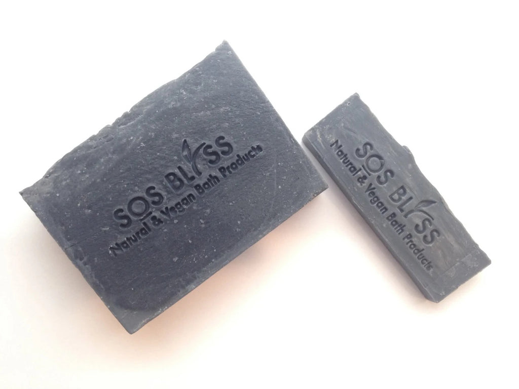 SOS BLISS Natural and Vegan Bath Products - Lavender Tea Tree Charcoal Soap