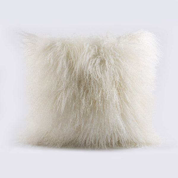 Mongolian fur, white pillow