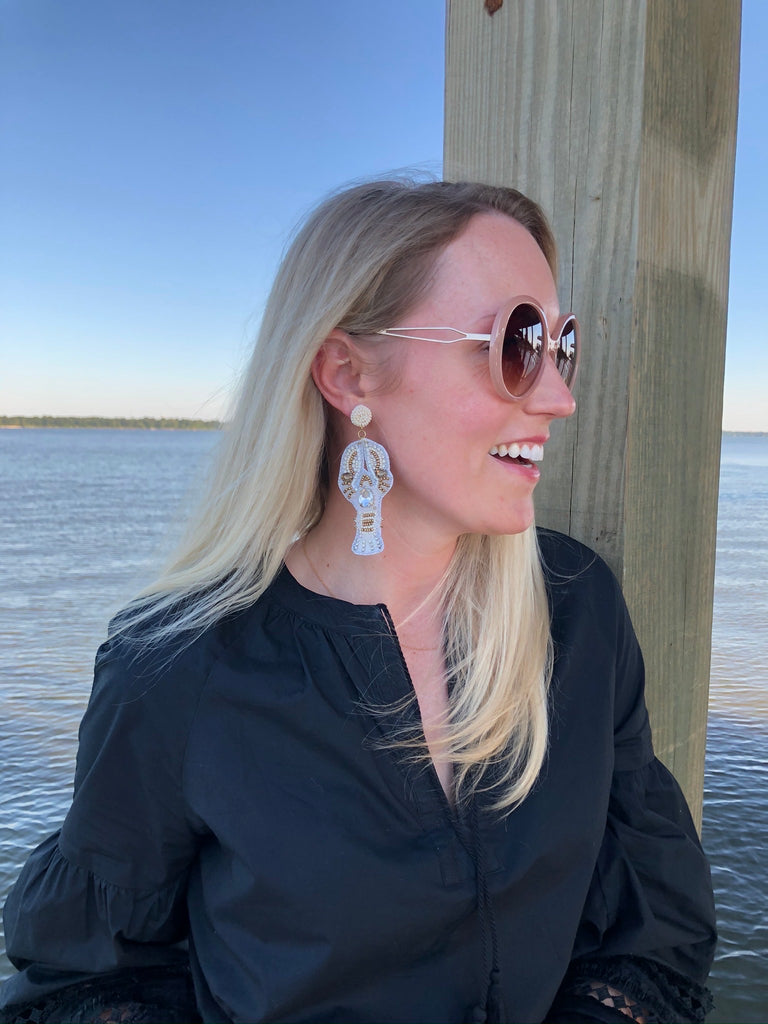 Lobster Sequin Statement Earrings - White