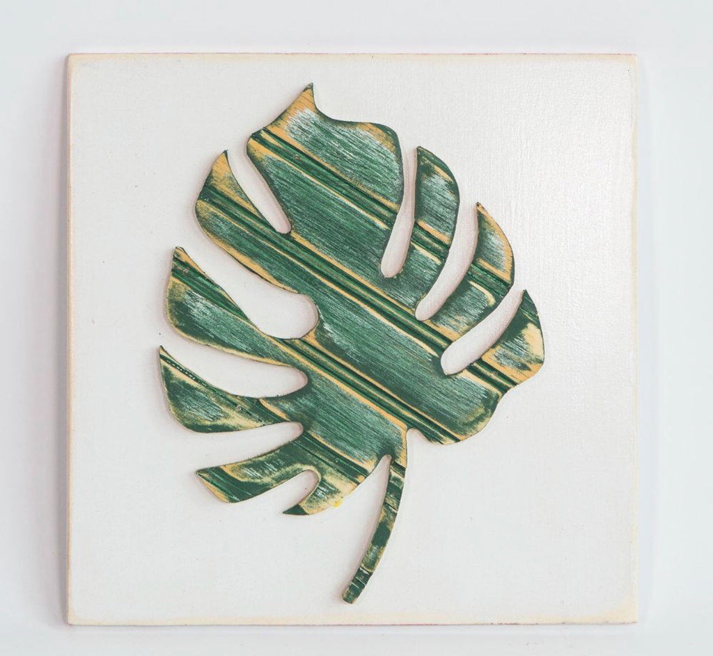 Monstera Palm Leaf Wooden Wall Art Manor Simply Smashing Home Decor
