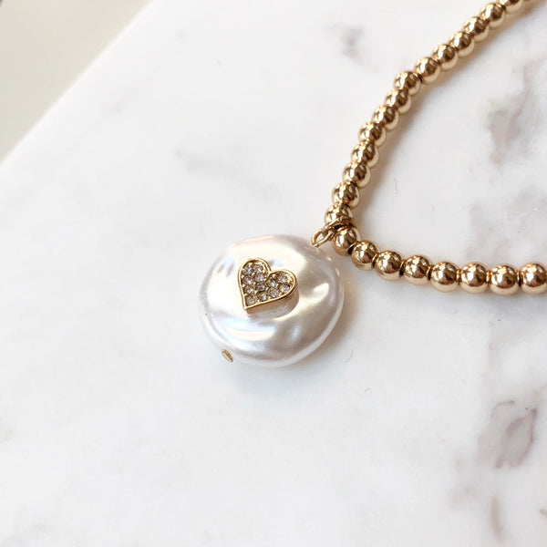 Pavé & Pearl Heart Charm Pendant Gold Necklace