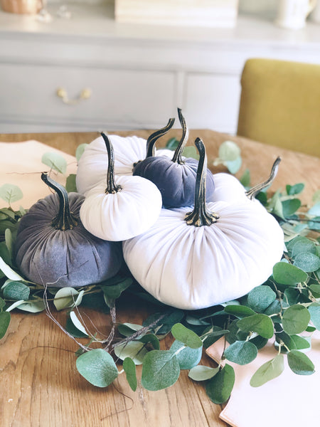 Cream & Gray Pumpkin set of 6