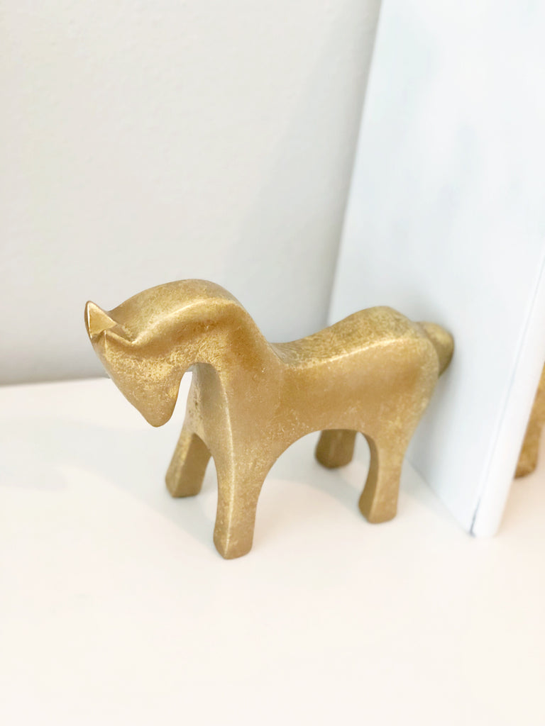 Golden equestrian bookends (set of two)