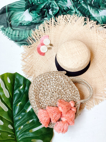 St. John Raw Edge Floppy Straw Hat