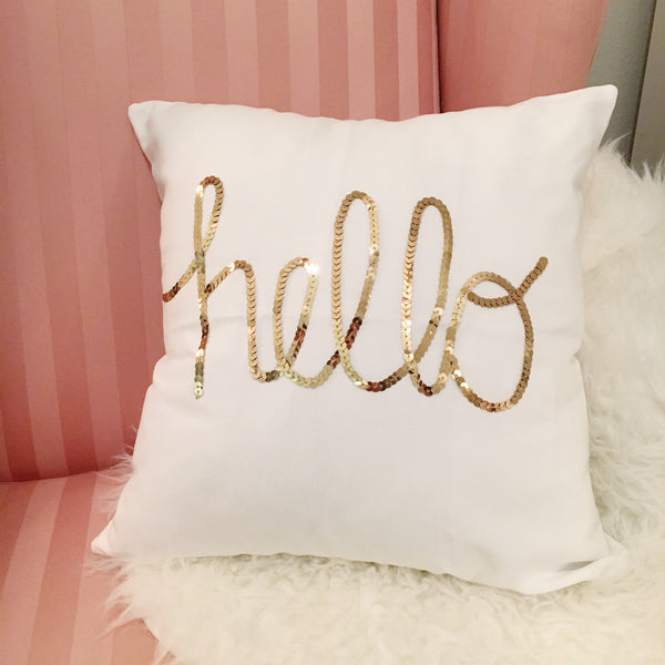 Hello Gold Sequin Pillow
