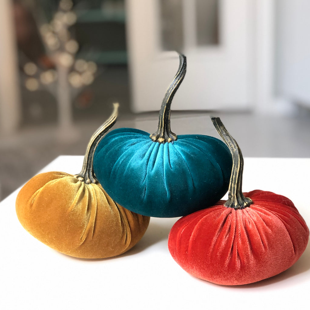 You choose the colors - Velvet Pumpkins set of 3