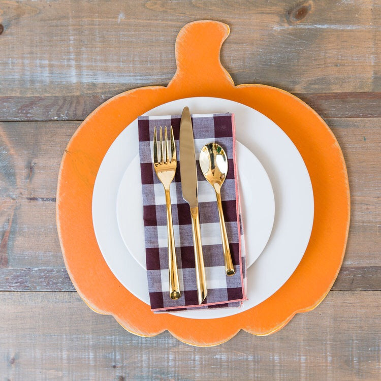 Customizable Wooden Pumpkin Placemats (set of 4)