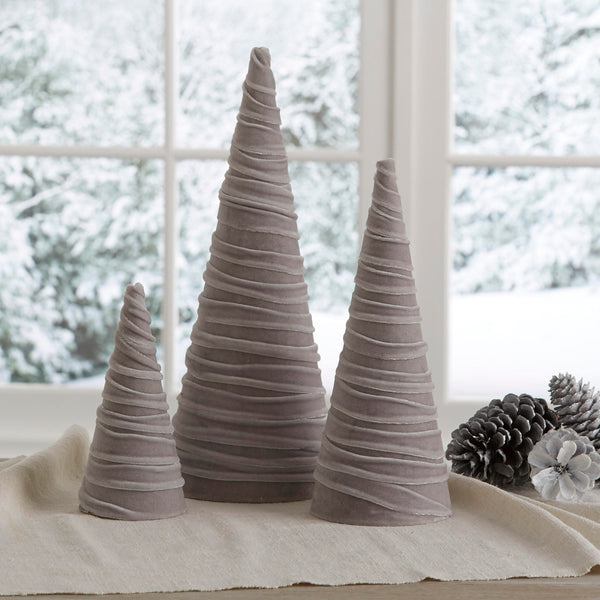 Velvet trees (set of 3) in Light Taupe