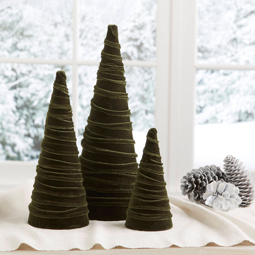 Velvet trees (set of 3) in Olive