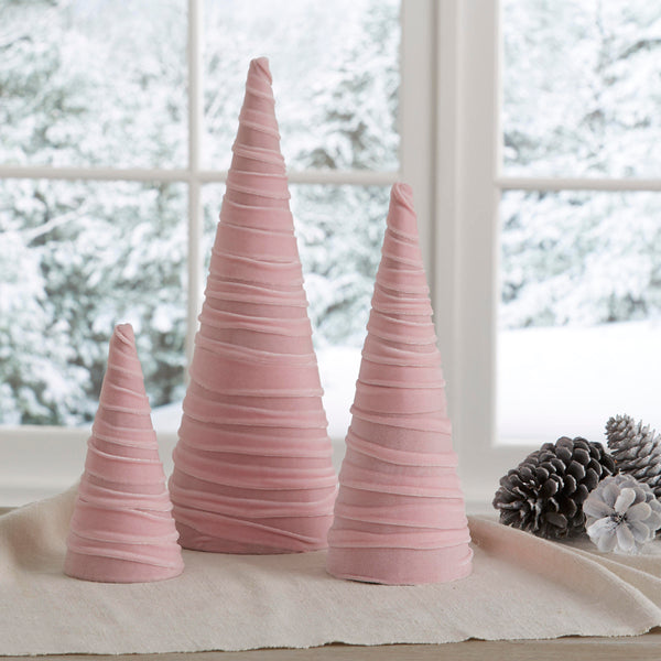 Velvet trees (set of 3) in Pink