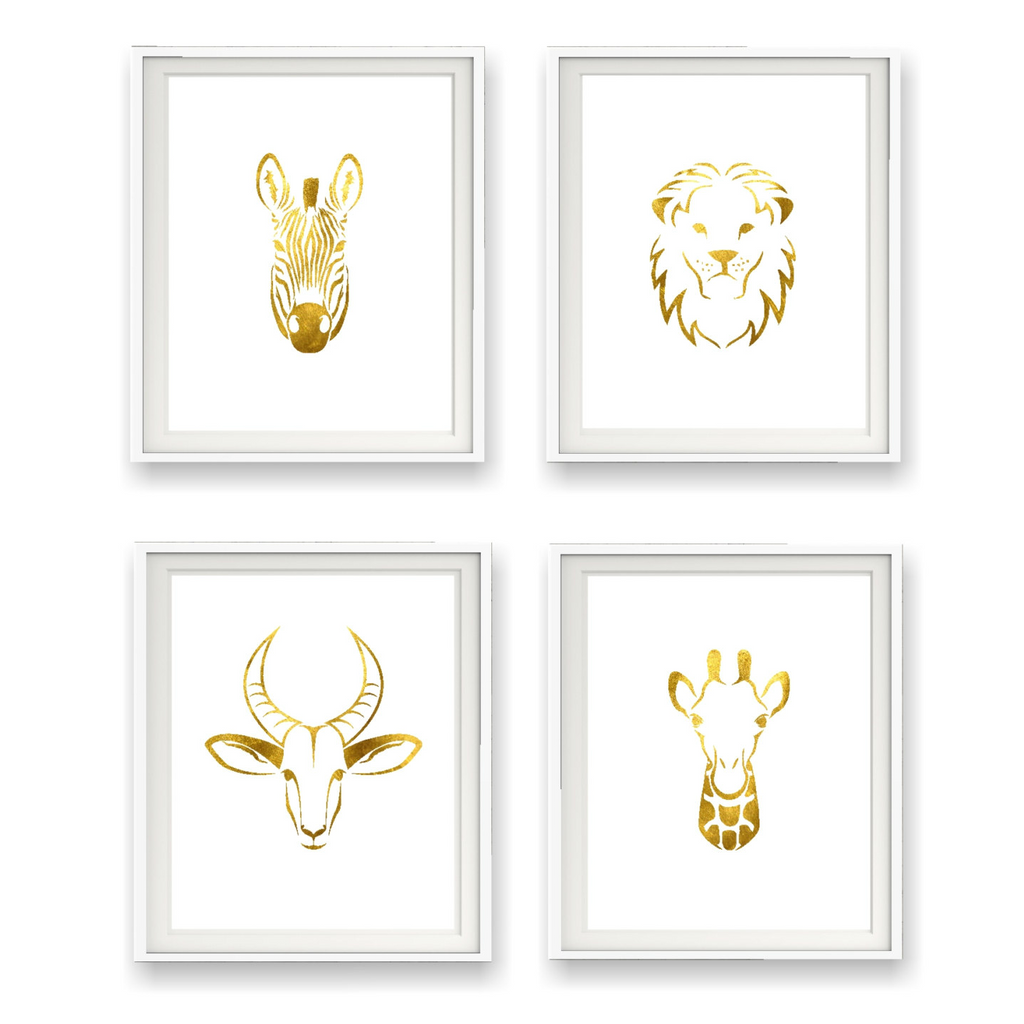 Safari Collection Gold Foil Prints