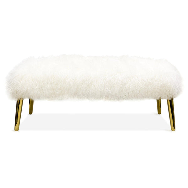 Large Mongolian Lamb Bench by Jonathan Adler