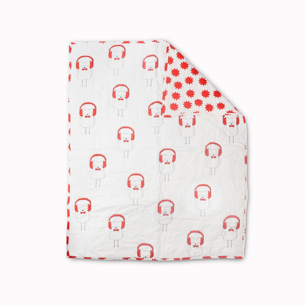 Rebby Owl Reversable Baby Quilt in Red
