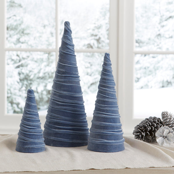 Velvet trees (set of 3) in Slate Blue