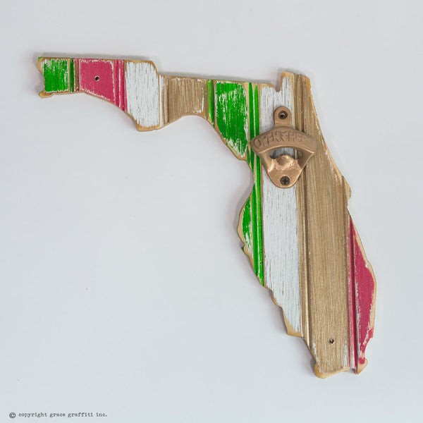Multi Color State Gold Bottle Opener