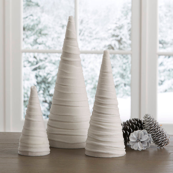 Velvet trees (set of 3) in Winter White