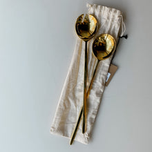 Load image into Gallery viewer, Brass Salad Servers