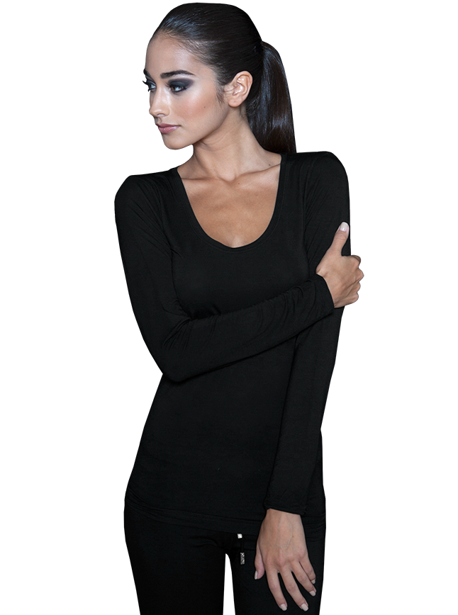Womens Long Sleeve Scoop Neck