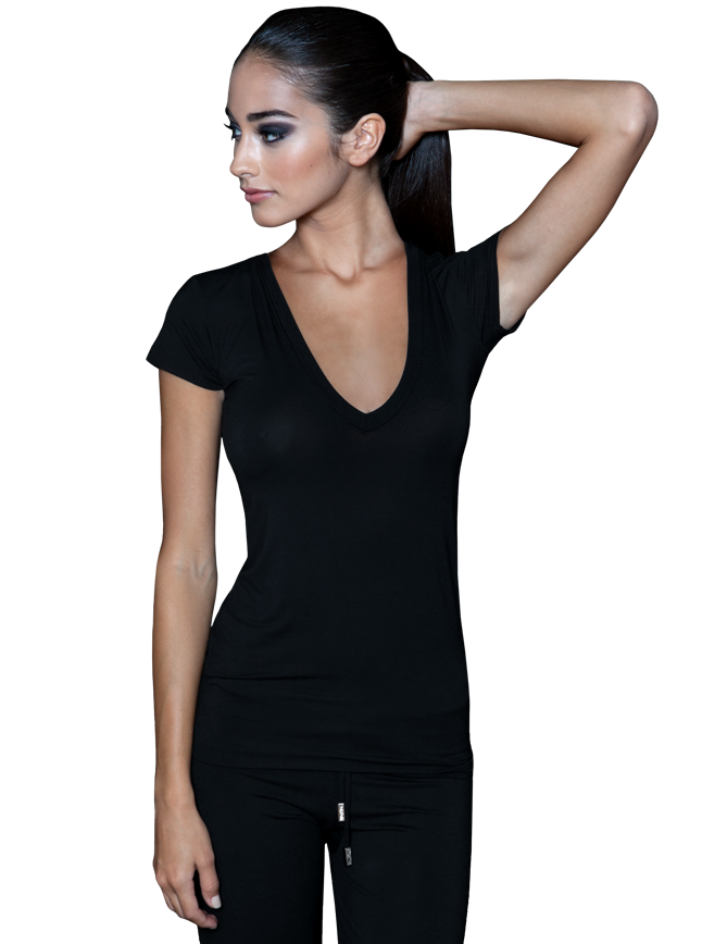Womens Deep V Neck T