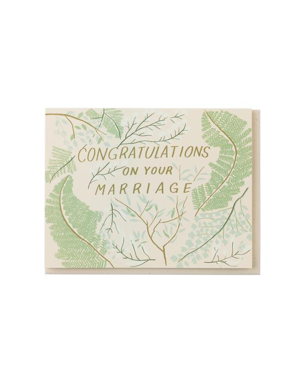 Congratulations on Your Marriage Greenery Card