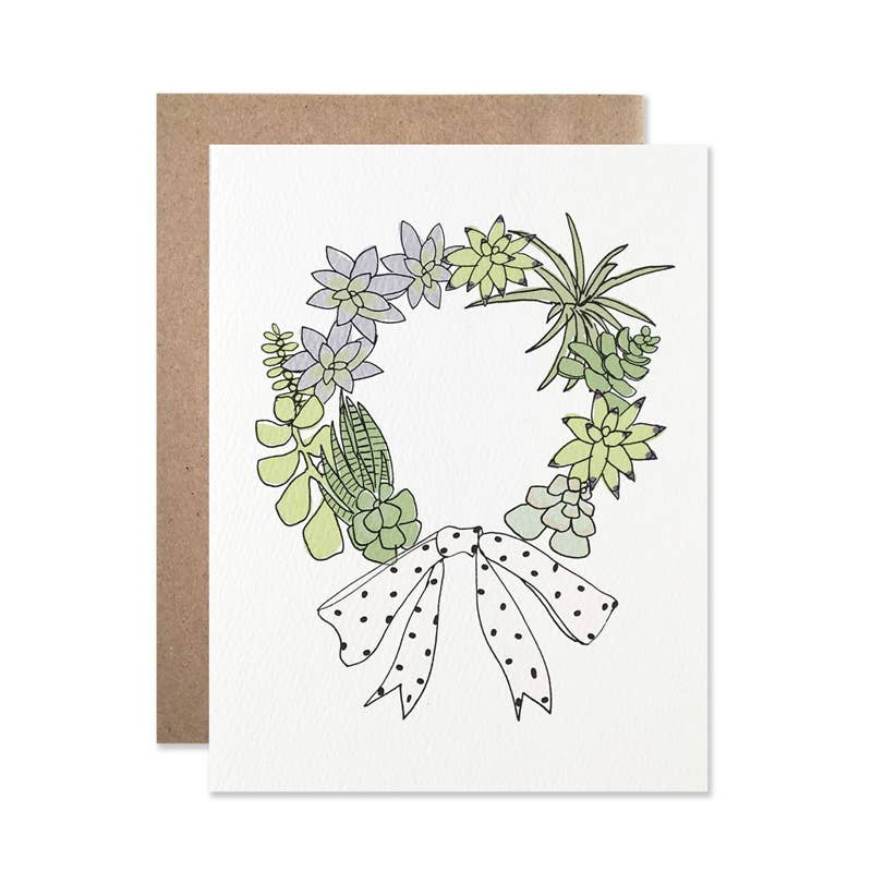 Holiday / Succulent Wreath Card Set Of 8