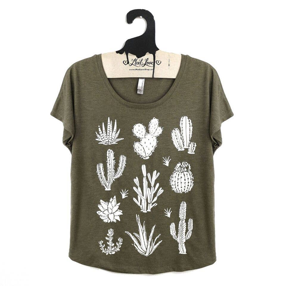 Olive Dolman Top with Cactus Print