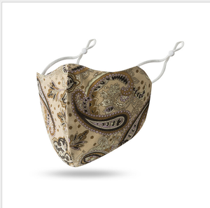 Bougie Beige Paisley Adult Face Mask