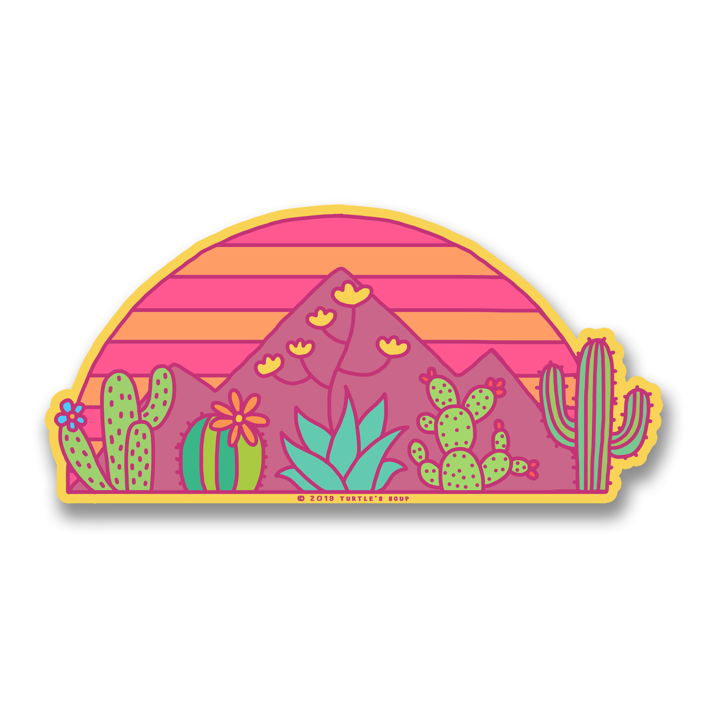 80s Desert Sunset Vinyl Sticker