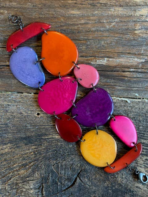 Mixed Solid Tagua Shapes Mosaic Wide Bracelet