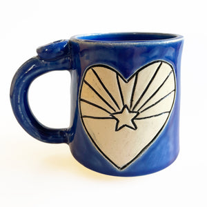 AZ Heart Star Carved Ceramic Mug