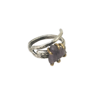 Amethyst with Brass Prongs Ring