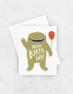 Monster With Balloon Birthday Card