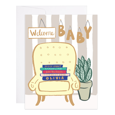 Welcome Baby Books and Chair Card