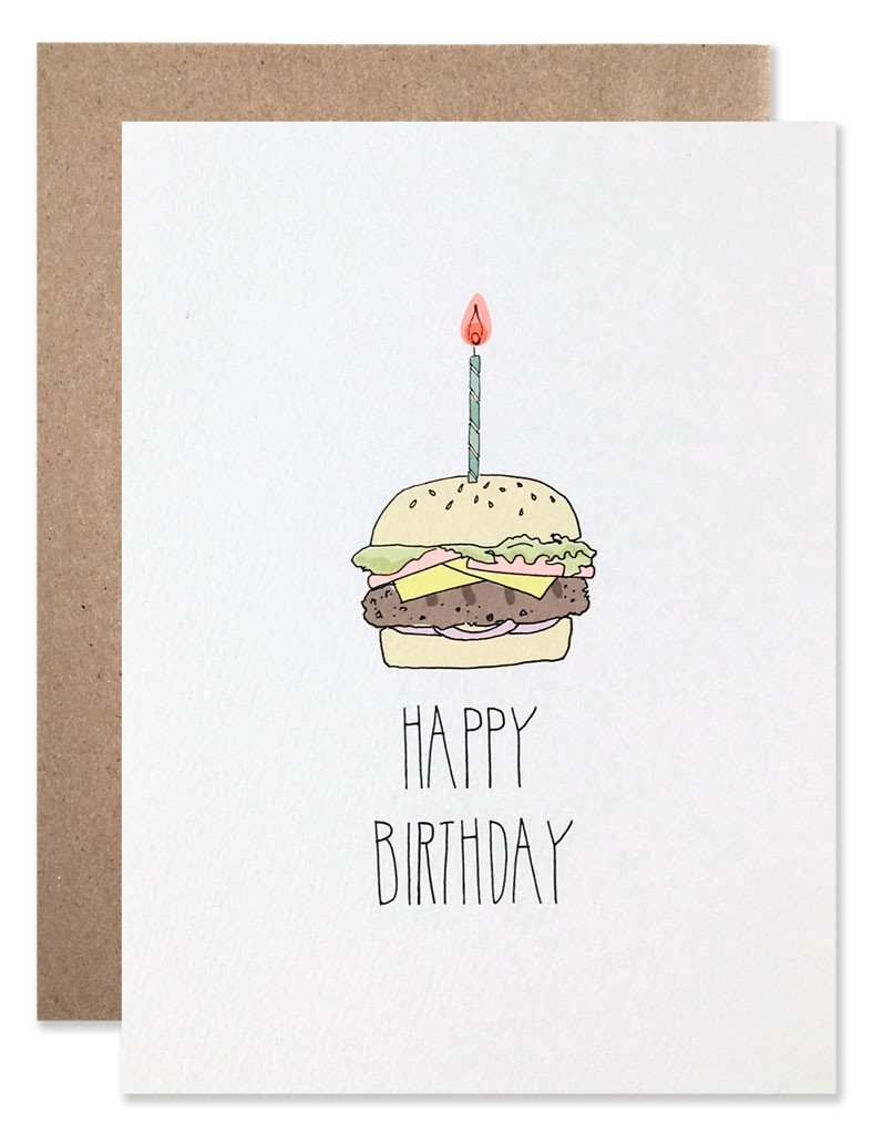 Burger With Candle Birthday Card