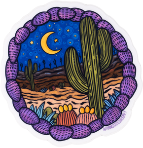 Round Desert Scene Sticker With Purple Border