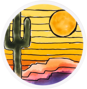 Round Yellow Striped Sky With Saguaro and Sun Sticker