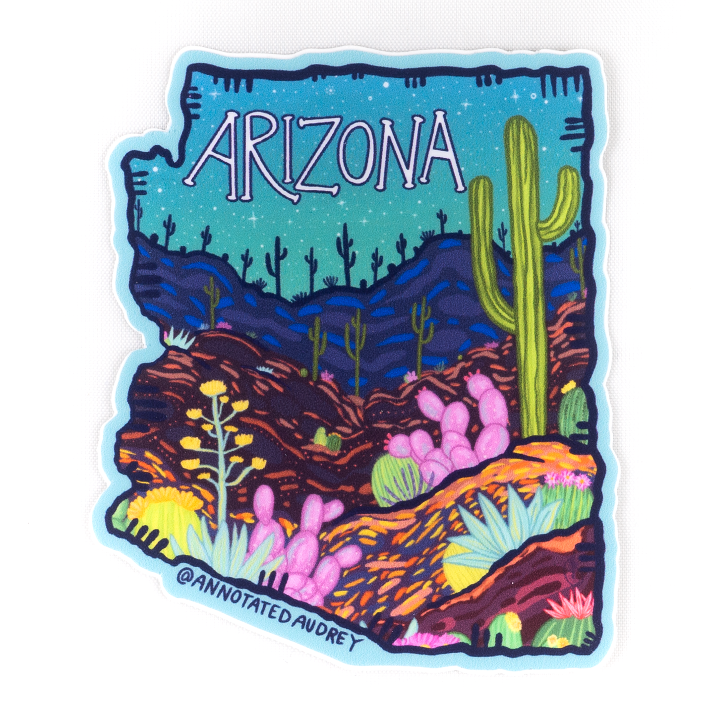 Arizona State Shaped Sticker With Night Sky Desert Scene