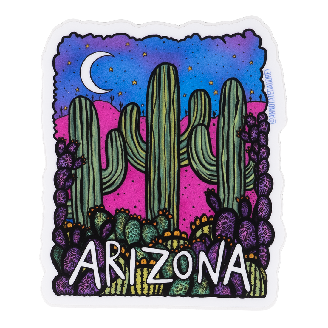 Square Arizona Sticker With Moon in Night Sky Desert Scene