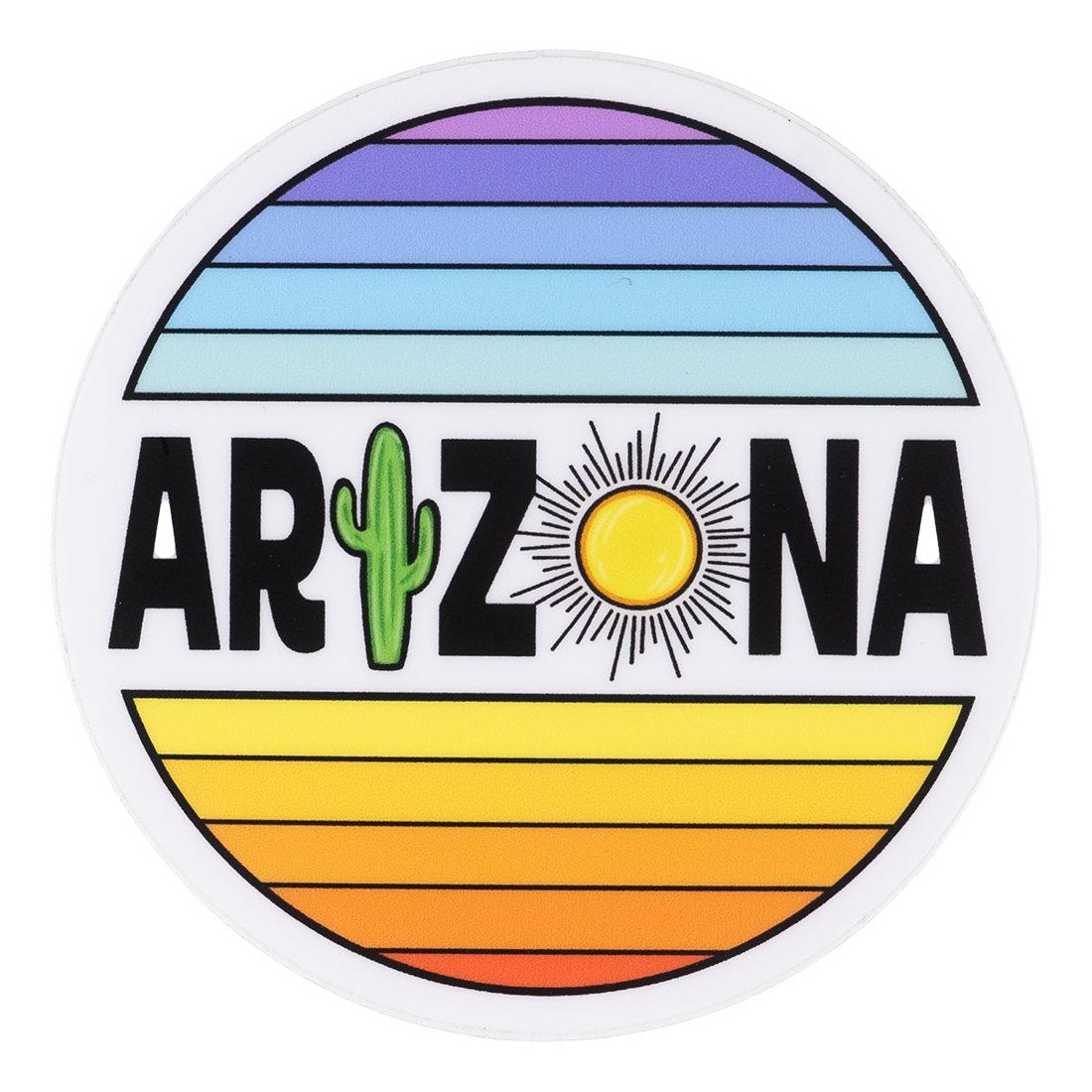 Round Rainbow-striped Arizona Sticker With Cactus and Sun