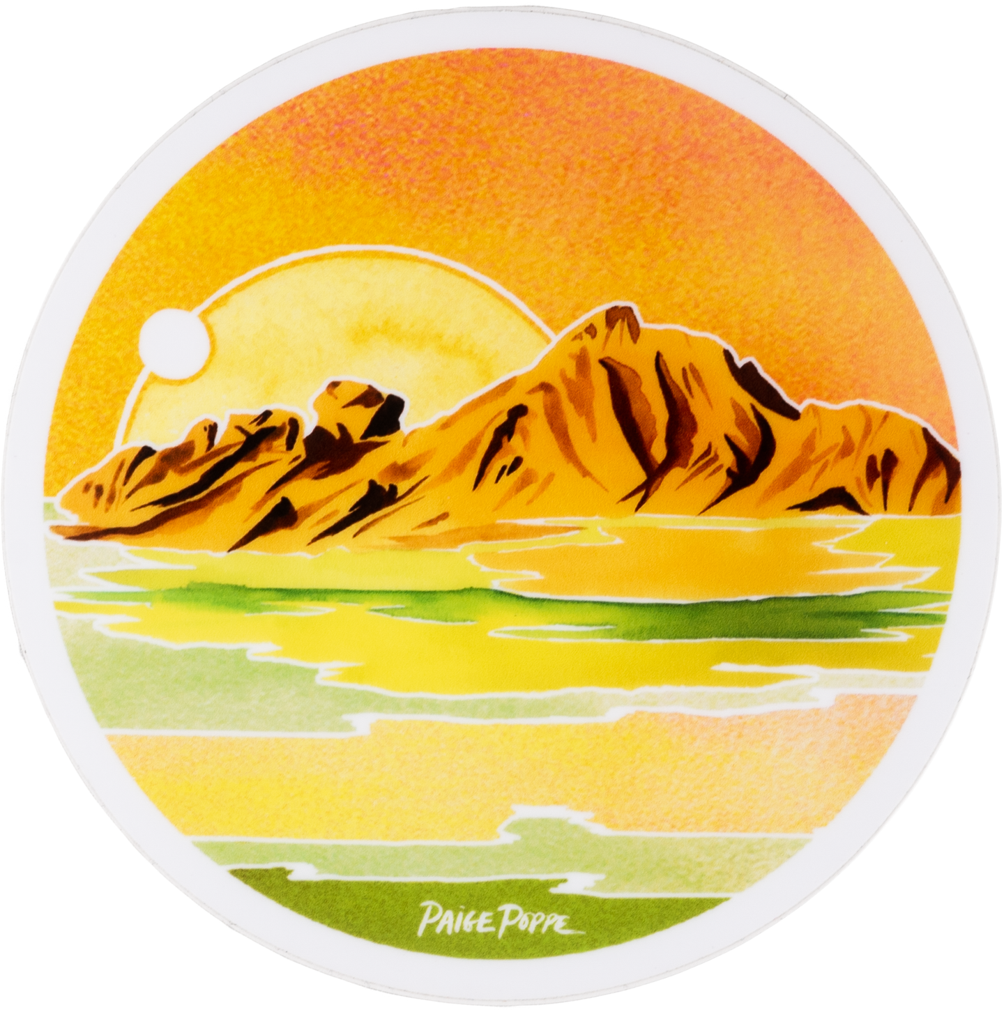 Round Desert Design Sticker With Mountains and Sun