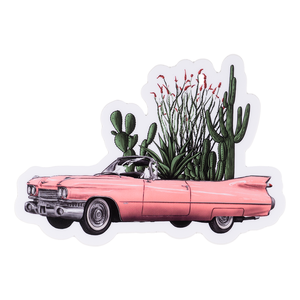 Pink Cadillac With Cacti Sticker