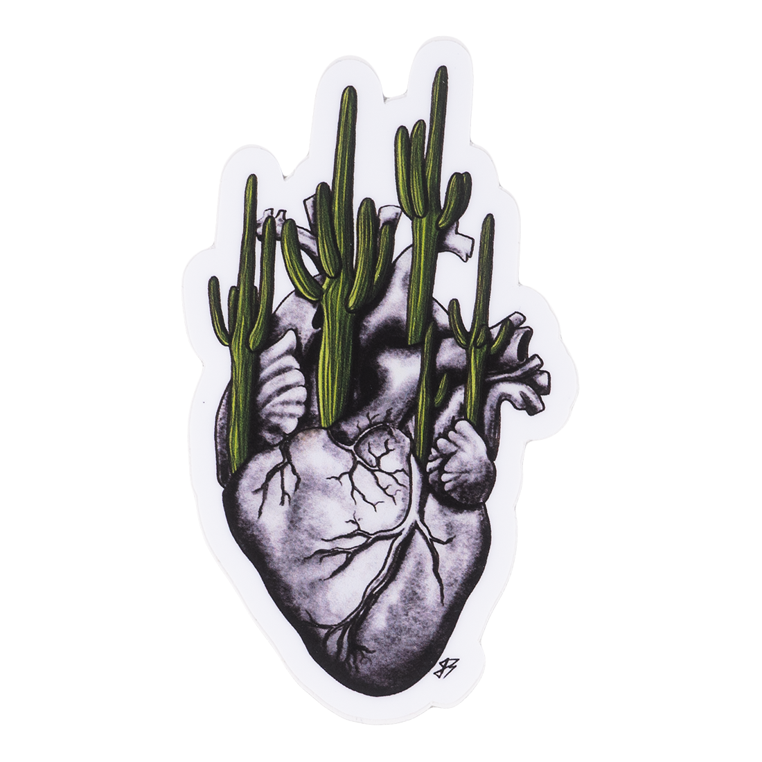 Gray Heart Planted With Saguaros Sticker