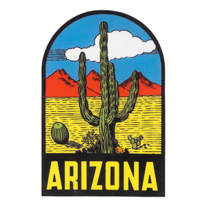 Arizona with desert scene illustration sticker