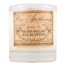 Load image into Gallery viewer, Handmade Coconut Wax Candle in Old Fashioned Glass Silver Dollar Eucalyptus