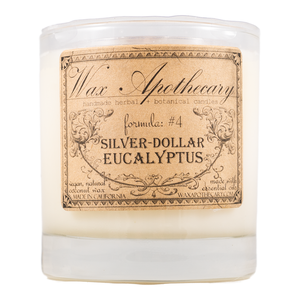 Handmade Coconut Wax Candle in Old Fashioned Glass Silver Dollar Eucalyptus