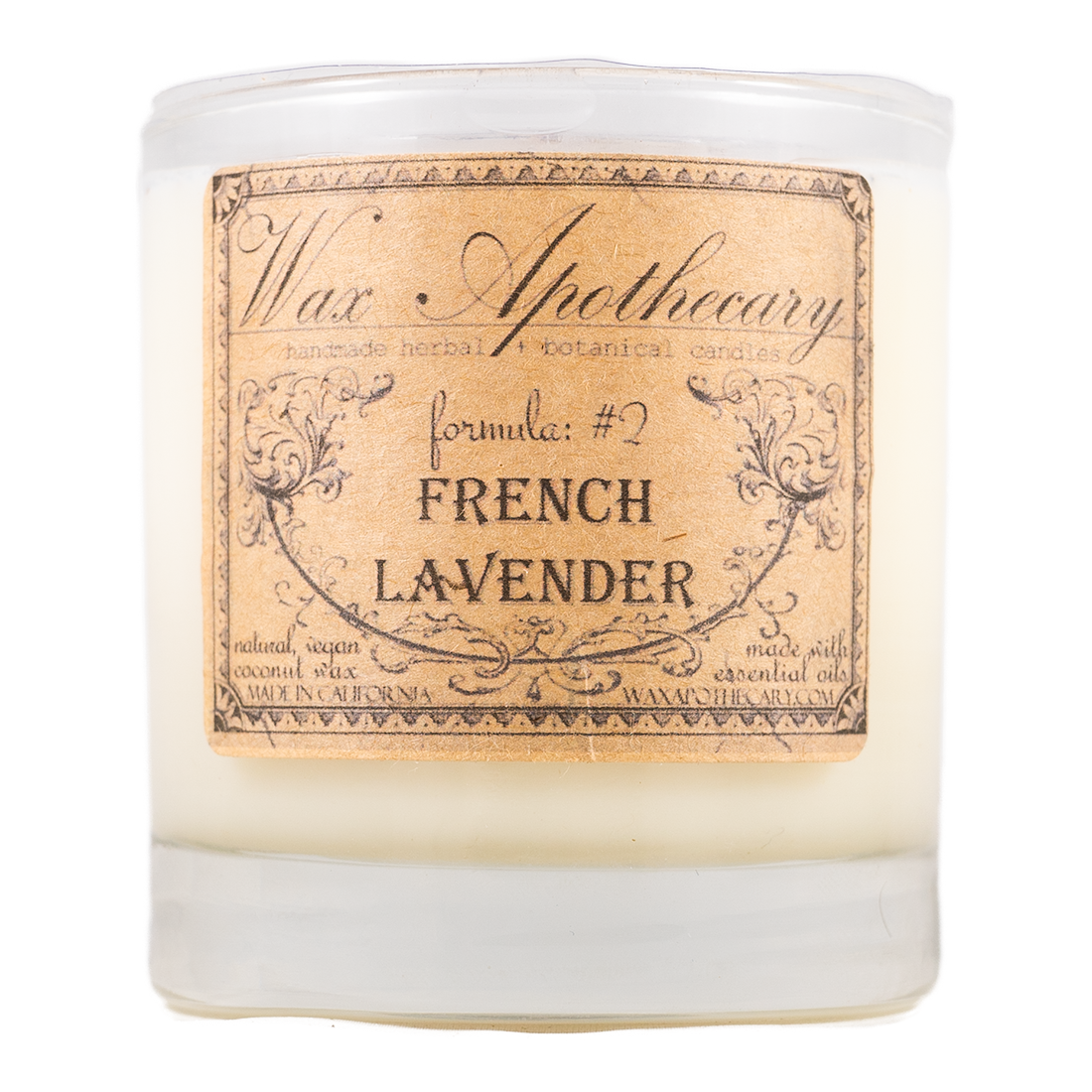 Handmade Coconut Wax Candle in Old Fashioned Glass French Lavender