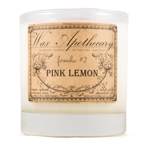 Handmade Coconut Wax Candle in Old Fashioned Glass Pink Lemon