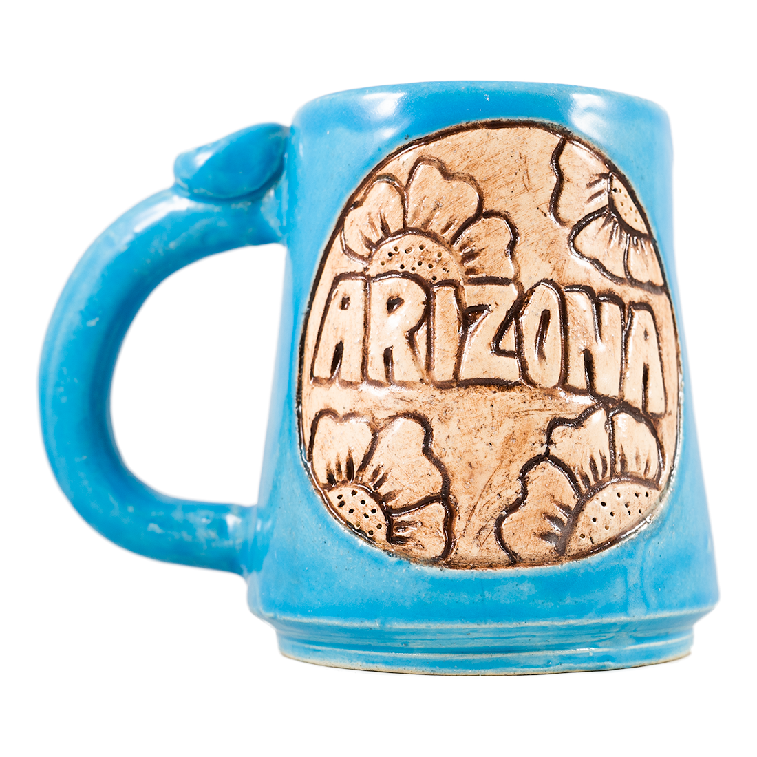 Arizona With Flowers Circle Handmade Ceramic Mug