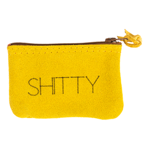 Shitty Leather Zipper Pouch