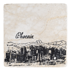 Phoenix With Skyline Handmade Stone Coaster